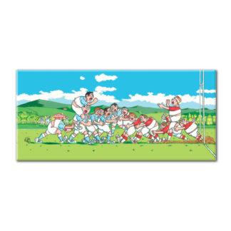 dessin Cortez rugby humour maul rouge et bleu