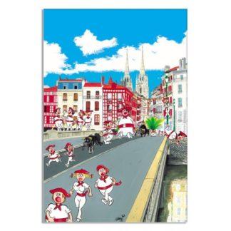 dessin pont Marengo fêtes de Bayonne