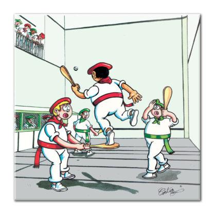 dessin Cortez pala au trinquet basque sport humour