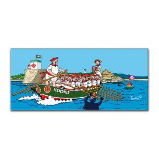 dessin Cortez trainière bateau basque humour