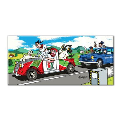 2CV pick up radar gendarmerie dessin humour