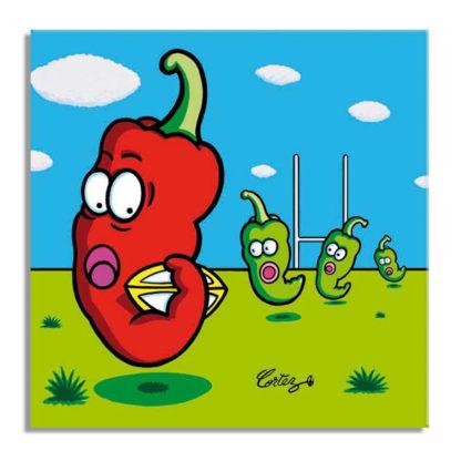 piment rugby course ballon humour dessin