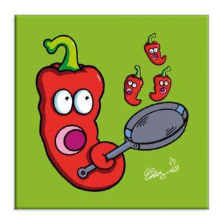 poele piment cuisson humour dessin