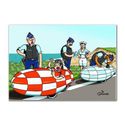 dessin vélomobile gendarmes velomobiel recumbent bike
