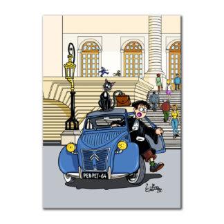 2cv greffier voiture dessin humour