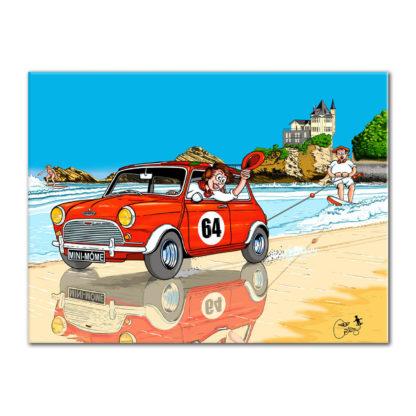 mini voiture plage humour dessin