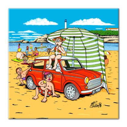 dessin mini cooper rouge plage voiture