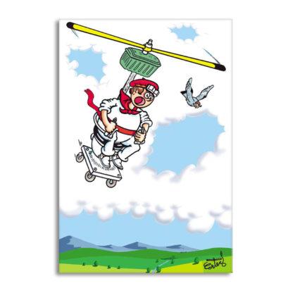 dessin Cortez pilote de chasse d'eau volante humour