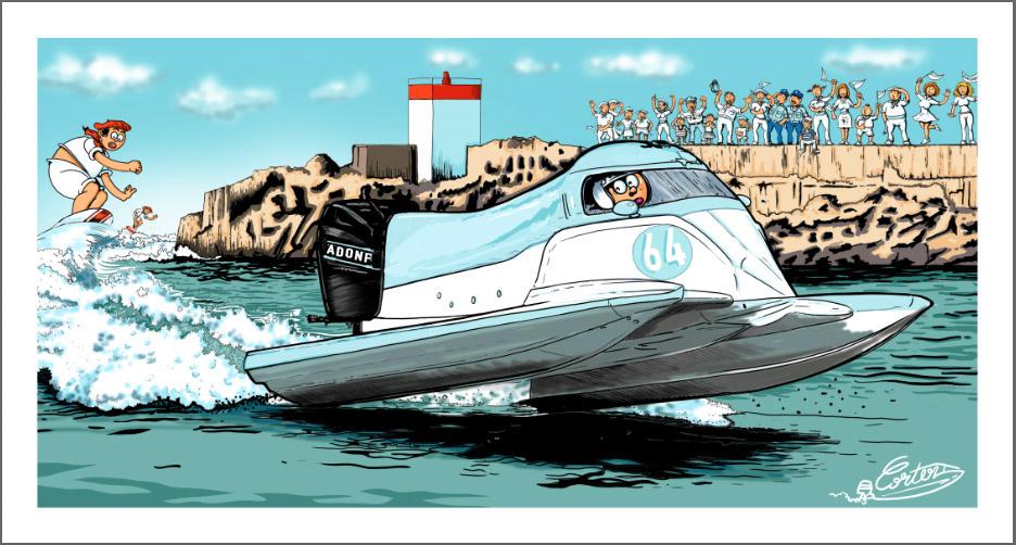 hors bord bateau dessin