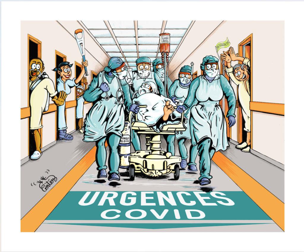 Dessin coronavirus gilets jaunes covid-19 infirmier